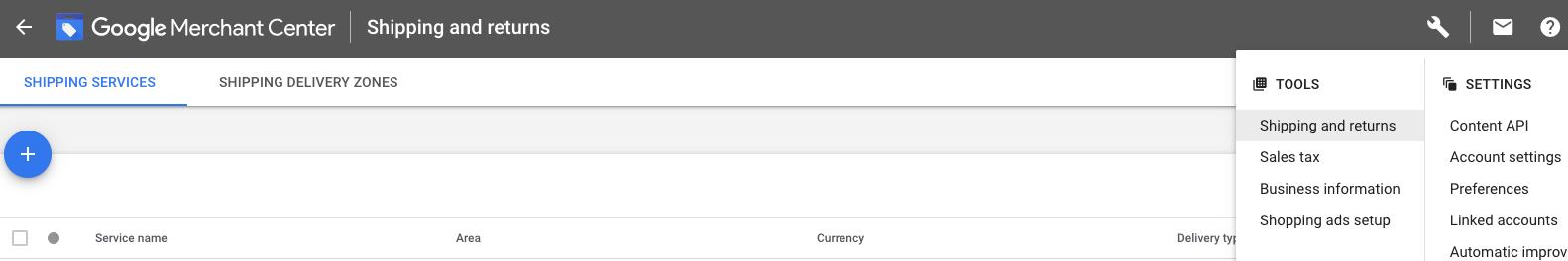 Google Merchant Center shipping