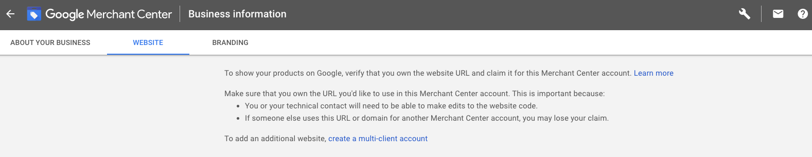 Google Merchant Center verification