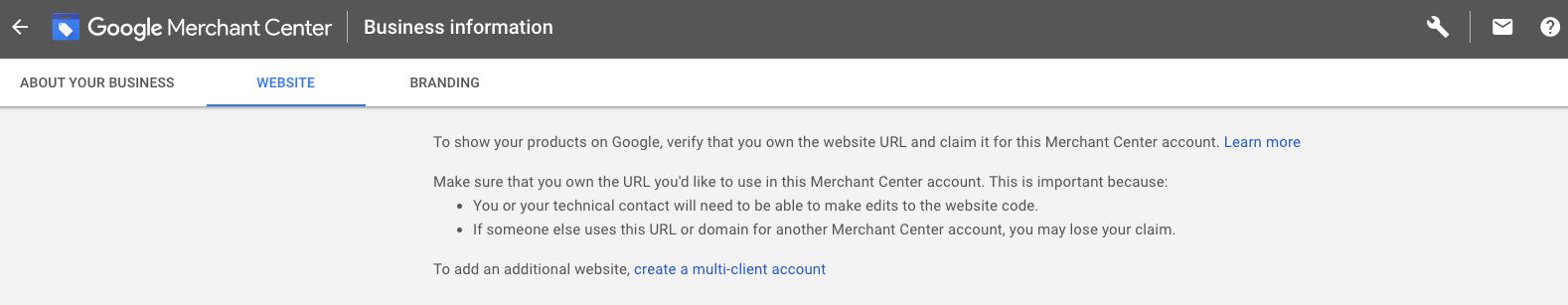Google Merchant Center verification