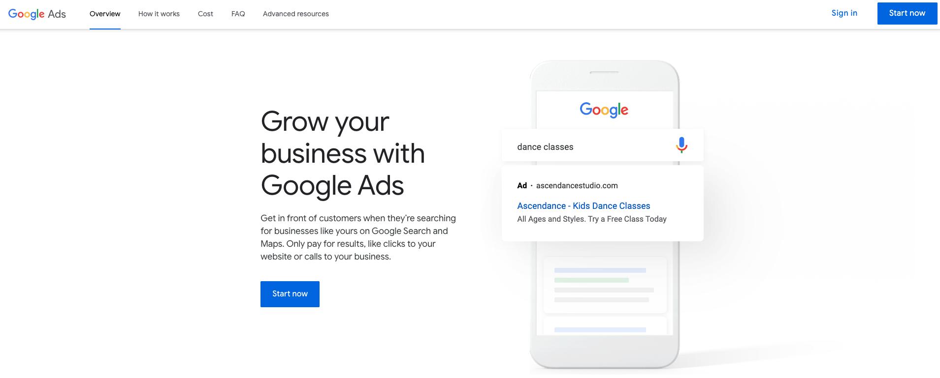 Google Ads start page