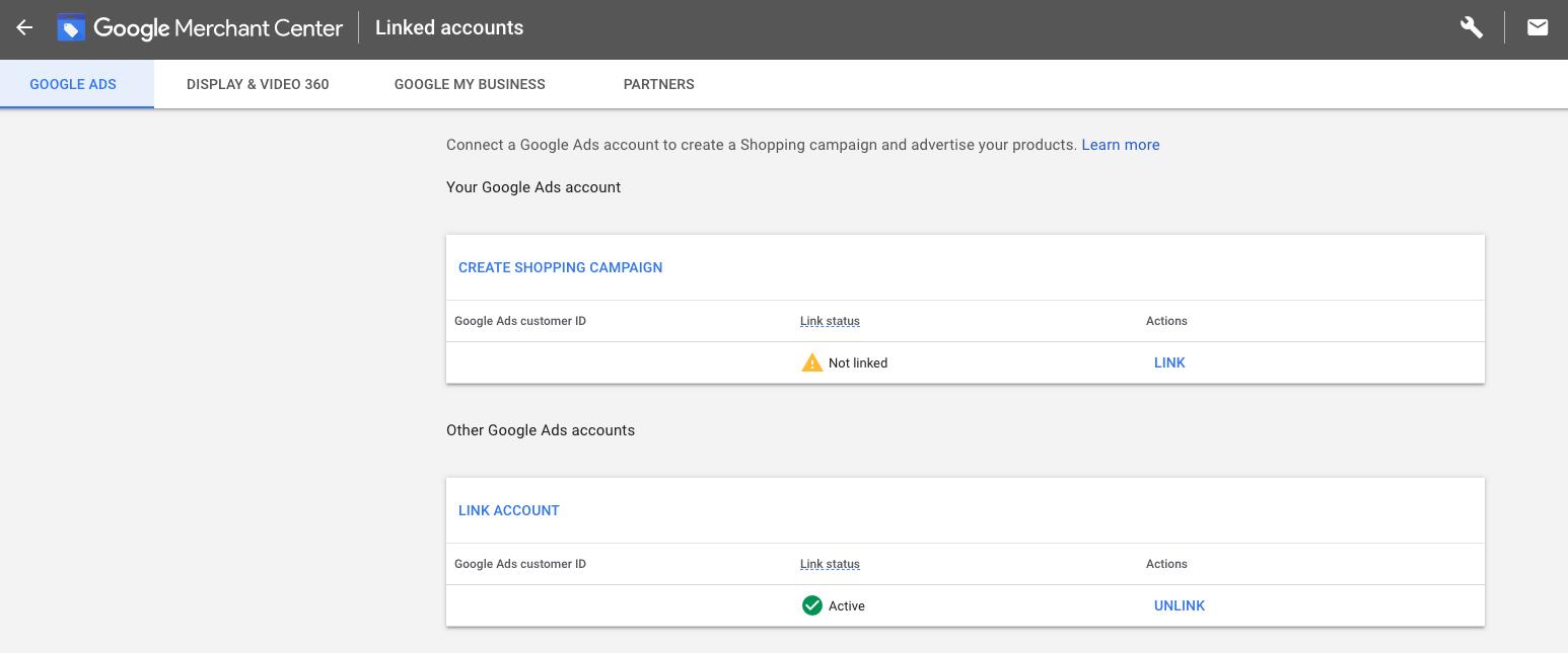 Linking Google Merchant Center with Google Ads