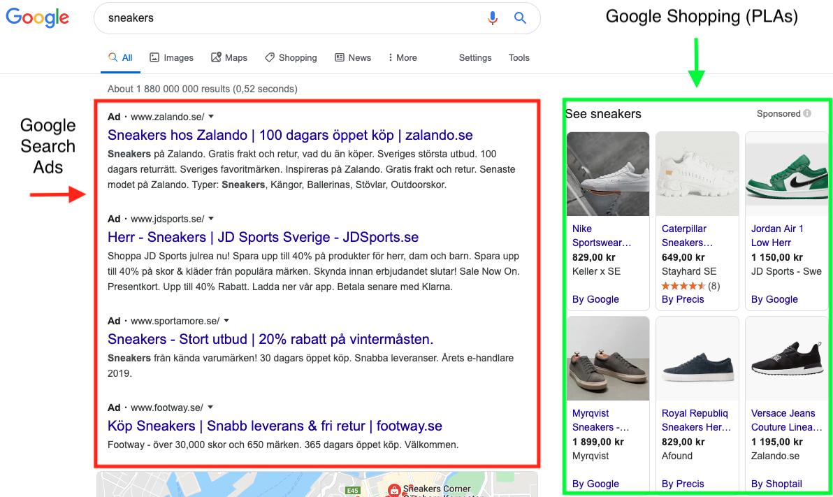 Google Search Ads compared to PLAs